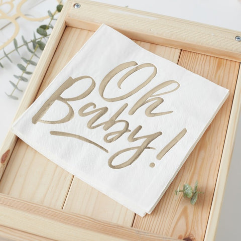 Ginger Ray - Gold Foiled Oh Baby! Paper Napkins, Party Decor, Ginger Ray, nursery, kids, babies, presents, gifts - Home & Me