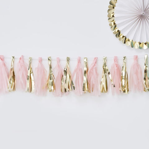 Ginger Ray - 	Pink and Gold Tassel Garland, Party Decor, Ginger Ray, nursery, kids, babies, presents, gifts - Home & Me