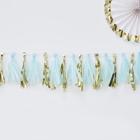 Ginger Ray - 	Blue and Gold Tassel Garland, Party Decor, Ginger Ray, nursery, kids, babies, presents, gifts - Home & Me