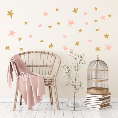 Gold and Pink Star Wall Stickers for Bedroom Nursery child's baby's room Playroom Easy Peal
