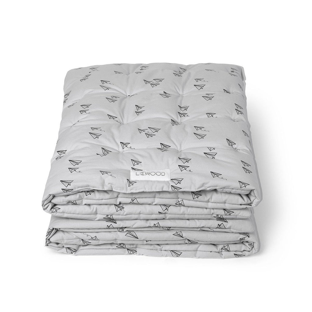 Liewood Grey Paper plane Blanket Quilt Playmat, Soft Furnishing, Liewood, nursery, kids, babies, presents, gifts - Home & Me