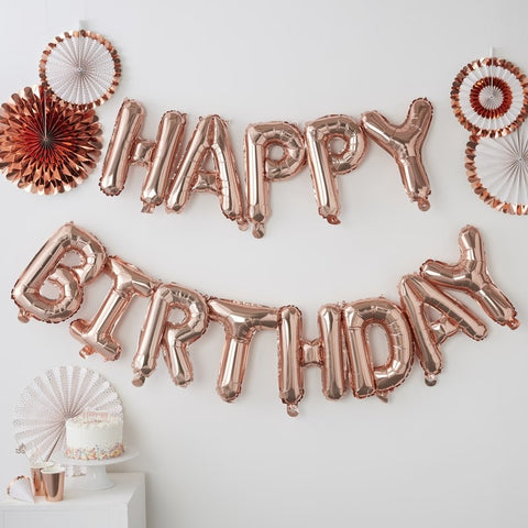 Ginger Ray - Rose Gold Happy Birthday balloon bunting, Party Decor, Ginger Ray, nursery, kids, babies, presents, gifts - Home & Me
