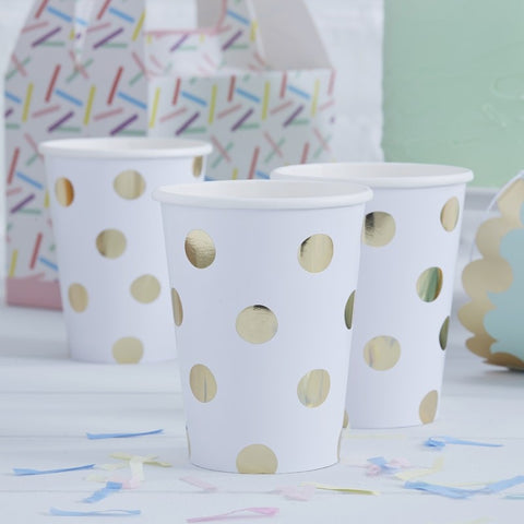 Ginger Ray - Gold Foiled Polka Dot Paper Cups, Party Decor, Ginger Ray, nursery, kids, babies, presents, gifts - Home & Me
