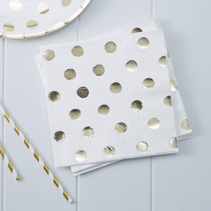 Ginger Ray - Gold Foiled Polka Dot Paper Napkins, Party Decor, Ginger Ray, nursery, kids, babies, presents, gifts - Home & Me