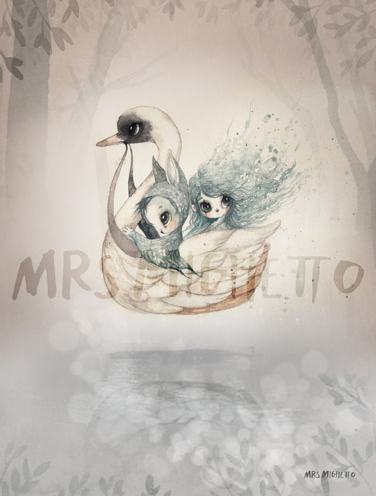 Mrs Mighetto The Lake Stories '2-Pac Bianca/Swan Boat', Wall Art, Mrs Mighetto, nursery, kids, babies, presents, gifts - Home & Me