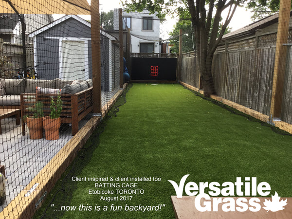 Backyard makeovers are our largest singular usage for Versatile Grass Versatile synthetic artificial grass turf Toronto GTA Ontario batting cage