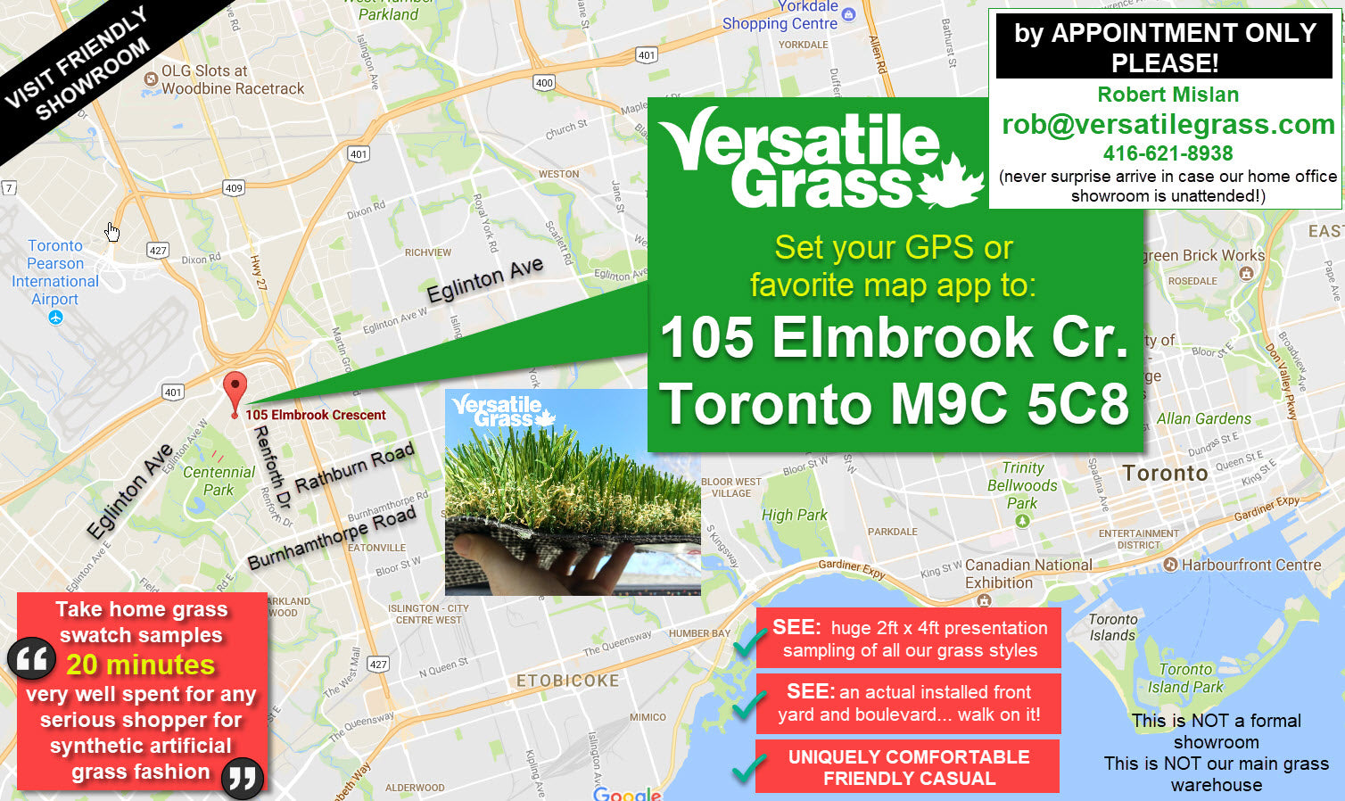 Versatile synthetic artificial grass turf Toronto GTA showroom visit map BY APPOINTMENT ONLY Ontario