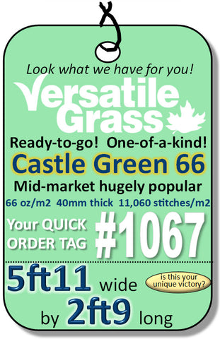 Piece #1067 Castle Green 66  5ft11 x 2ft9 synthetic artificial grass SSTOR