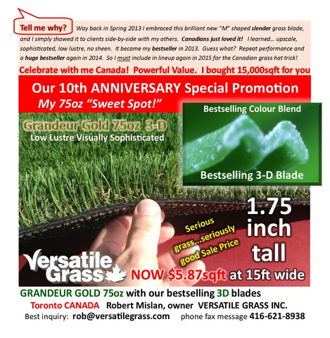 Piece #628 Anniversary 75 Synthetic Artificial Grass 2ft3 x 4ft9 Elm