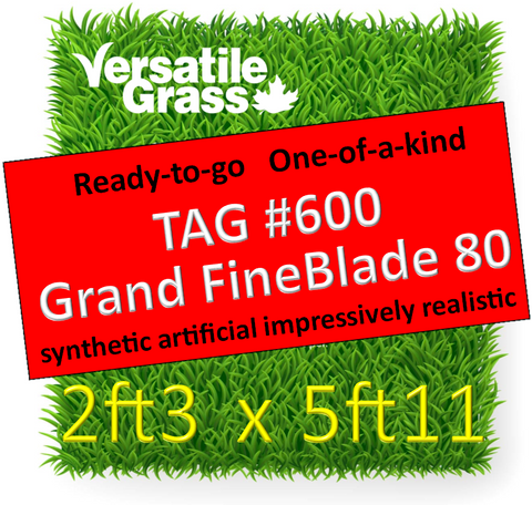 TAG#600 Grandeur Fineblade 80 Synthetic Artificial Grass 2ft3 x 5ft11 Elm