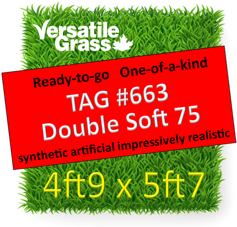 TAG#663 Double Soft 75 Synthetic Artificial Grass 4ft9 x 5ft7 Elm