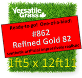 Tag #862 Refined Gold 82 Synthetic Artificial Grass 1ft5 x 12ft11 Elm