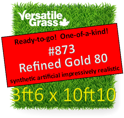 Piece #873  Refined Gold 80 Synthetic Artificial Grass 3ft6 x 10ft10 Elm