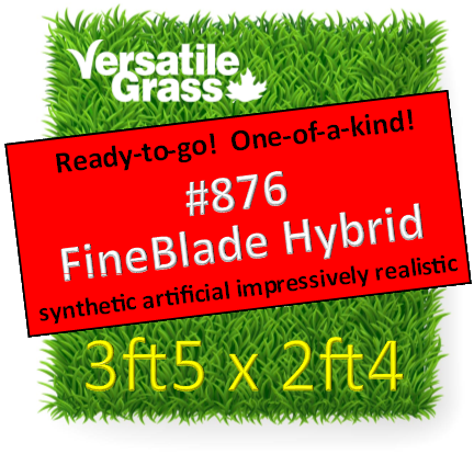 Piece #876 Fineblade Hybrid Synthetic Artificial Grass 3ft5 x 2ft4 Elm