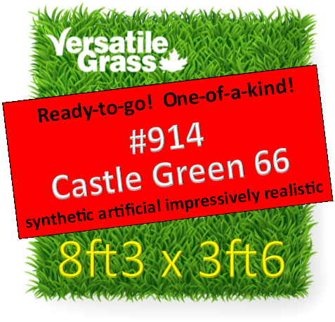 Piece #914 Castle Green 66 Synthetic Artificial Grass 8ft3 x 3ft6 Elm