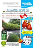 Piece #935 Champion Blade 103 Synthetic Artificial Grass 6ft9 x 2ft2 ELM