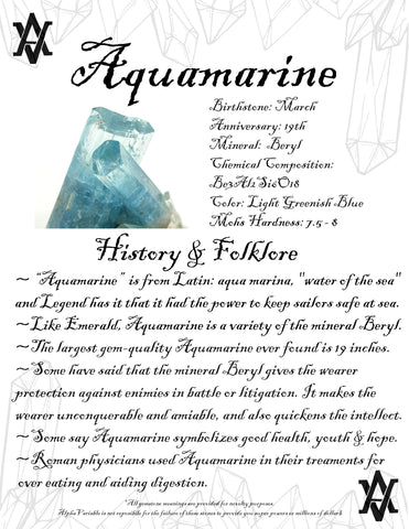 #Aquamarine #Crystals #Gemstones #Folklore #GemstoneMeaning #AlphaVariable