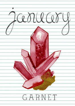 january birthstone garnet crystal drawing