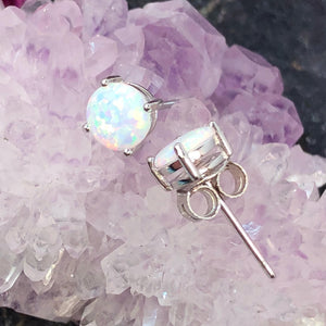 Opal Earrings Sterling Silver - Earrings - AlphaVariable