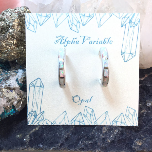 Sterling Silver Opal Hoop Earrings - Earrings - AlphaVariable