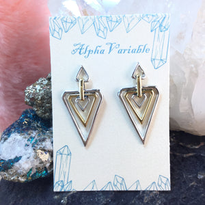 Sterling Silver 14k Gold Geometric Earrings - Earrings - AlphaVariable