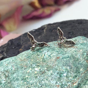 Bird Earrings - Sterling Silver Studs - AlphaVariable