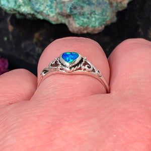 Blue Opal Heart Ring - Ring - AlphaVariable