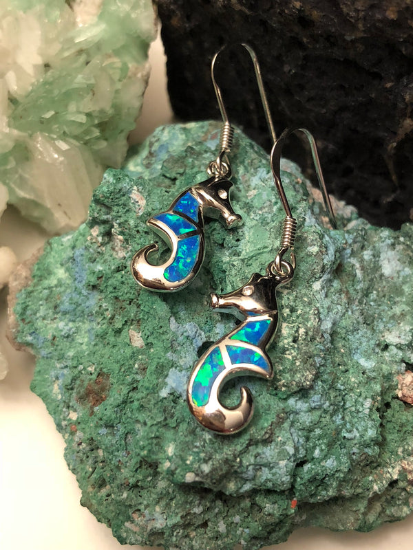 Opal Seahorse Earrings - Earrings - AlphaVariable