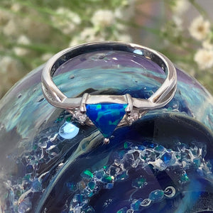 Blue Opal Triangle Ring - Ring - AlphaVariable