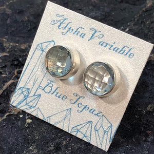 Blue Topaz Stud Earrings - Earrings - AlphaVariable