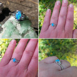 Blue Opal Engagement Ring With CZ Accents - Ring - AlphaVariable