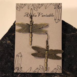 Bronze Dragonfly Earrings - Earrings - AlphaVariable
