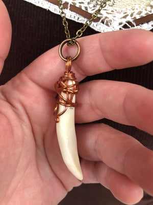 Copper Wire Wrapped Buffalo Tooth Necklace - Necklace - AlphaVariable