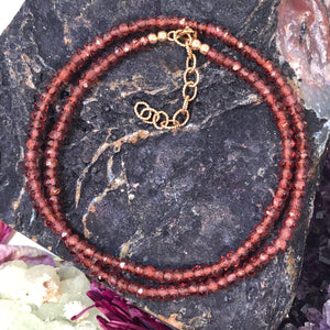 Garnet 14k Gold Filled Necklace - Necklace - AlphaVariable