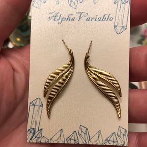 Gold Leaf Earrings - Earrings - AlphaVariable