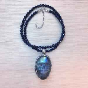 Hand Carved Labradorite Skull Necklace - Necklace - AlphaVariable