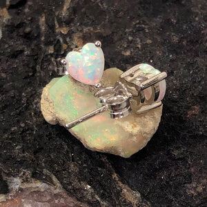 Opal Heart Stud Earrings - Earrings - AlphaVariable