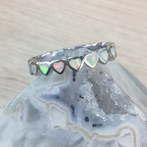 Sterling Silver Opal Heart Band Ring - Rings - AlphaVariable