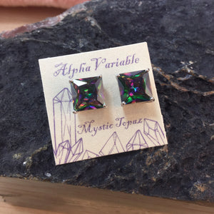 Sterling Silver Mystic Topaz Stud Earrings - Earrings - AlphaVariable