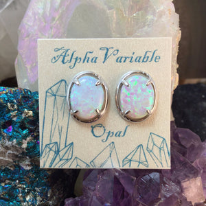 Sterling Silver Opal Stud Earrings - Earrings - AlphaVariable