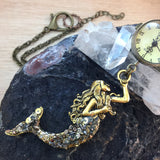 Mermaid Pocket Watch Necklace - Pocket Watch Necklace - AlphaVariable