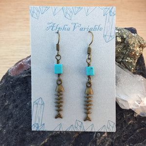 Fish Skeleton Earrings - Earrings - AlphaVariable