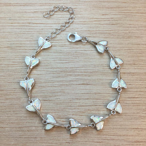 Sterling Silver Opal Whale Tail Bracelet - Bracelet - AlphaVariable