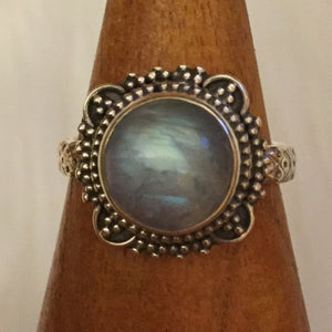 Av Sterling Silver Moonstone Ring boho june AlphaVariable