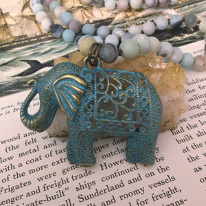 Elephant Amazonite Mala Necklace - Necklace - AlphaVariable