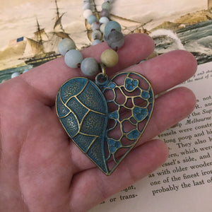 Amazonite Heart Necklace - Necklace - AlphaVariable