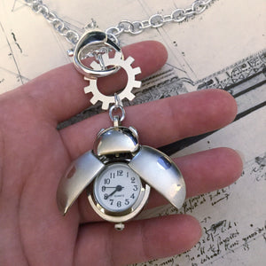 Ladybug Pocket Watch Necklace - Pocket Watch Necklace - AlphaVariable