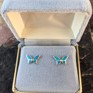 Sterling Silver Opal Butterfly Earrings - Earrings - AlphaVariable