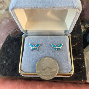 DPS Sterling Silver Opal Butterfly Earrings - Earrings - AlphaVariable
