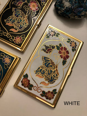 Vintage Cloisonne Butterfly Business Card Holder - Vintage Cloisonne Gifts - AlphaVariable